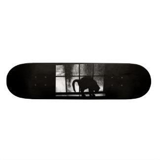 October Showers Cat Silhouette At Window 2 B&W Skateboard