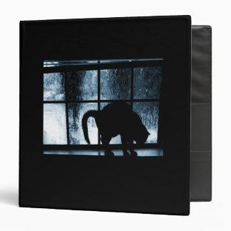 October Showers Cat Silhouette At Window 2 Blue Vinyl Binders