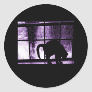 October Showers Cat Silhouette At Window 2 Purple Round Sticker