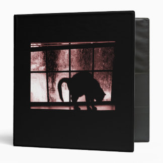 October Showers Cat Silhouette At Window 2 Red Vinyl Binder