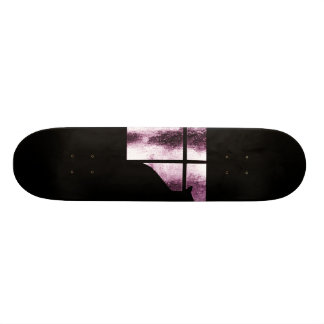 October Showers Cat Silhouette At Window Pink Skateboards