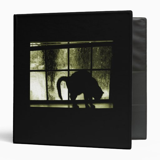 October Showers Cat Silhouette At Window Yellow 3 Ring Binder