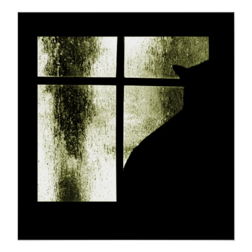 October Showers Cat Silhouette At Window Yellow Poster