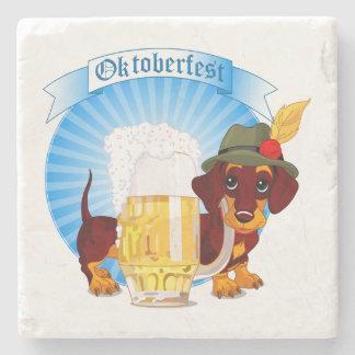 Octoberfest Dachshund Marble Stone Coaster