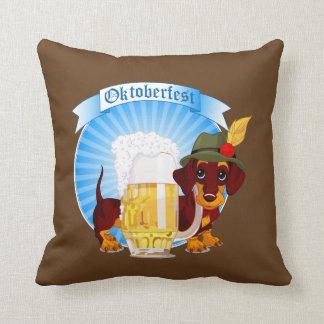 "Octoberfest Dachshund Throw Pillow 16"" x 16"""