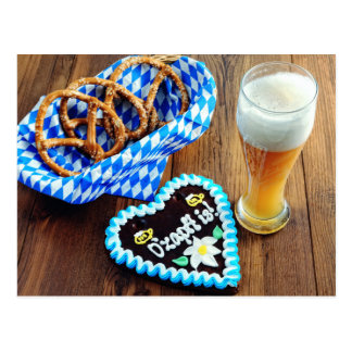 Octoberfest with Beer, Pretzel and going Postcard