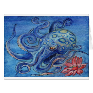 """Octopalotus"" - Octopus with Lotus Greeting Card"