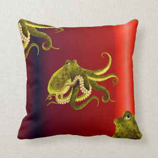 Octopi on Gradient Red Throw Pillow