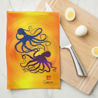 Octopi On Yellow/Orange - Kitchen Towel
