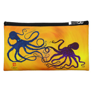 Octopi On Yellow/Orange - Sueded Cosmetic Bag