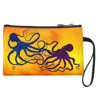 Octopi On Yellow/Orange - Sueded Mini Clutch