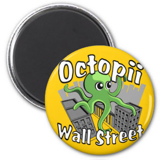 Octopii Wall Street - Occupy Wall St! 2 Inch Round Magnet