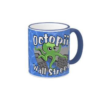 Octopii Wall Street - Occupy Wall St! Ringer Mug