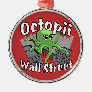 Octopii Wall Street - Occupy Wall St! Silver-Colored Round Ornament