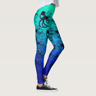 Octopodes On Green To Blue - Leggings