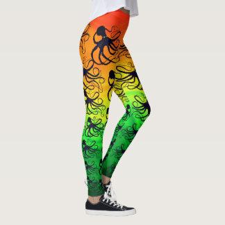Octopodes On Orange To Green - Leggings