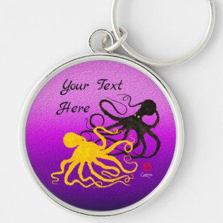 Octopodes On Purple - Large Round Keychain