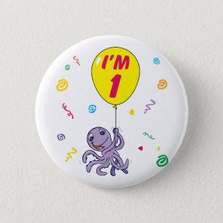 Octopus 1st Birthday 2 Inch Round Button