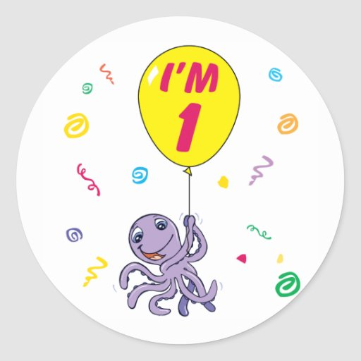 Octopus 1st Birthday Stickers