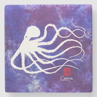 Octopus 2 White Facing Left - Marble Coaster