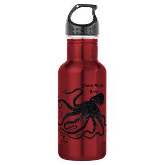 Octopus 6 Black On Red - 18 oz. Water Bottle