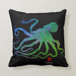 Octopus 6 Blue/Green On Black - Throw Pillow