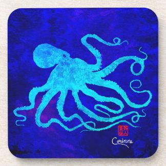 Octopus 6 Blue On Blue - Hard Plastic Coasters