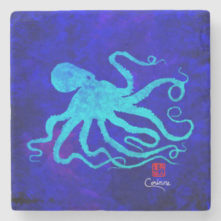 Octopus 6 Facing Right - Marble Coaster