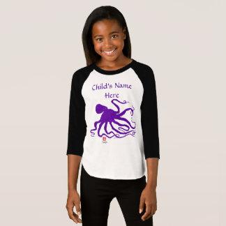 Octopus 6 - Girl's Customizable Raglan top