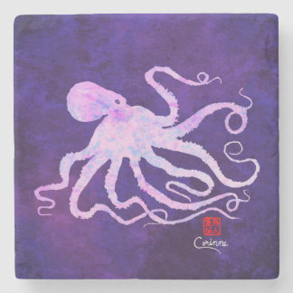 Octopus 6 In Light Pink Facing Right - Coaster