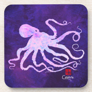 Octopus 6 In Light Pink - Hard Plastic Coasters