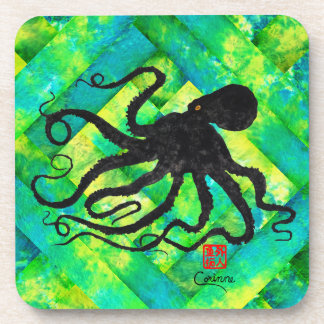 Octopus 6 On Blue/Green - Hard Plastic Coasters