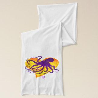 Octopus 6 on Fiery ❤ - White Jersey Scarf