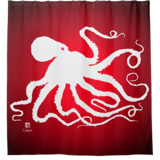 Octopus 6 on Red - Shower Curtain