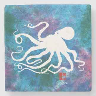 Octopus 6 White Facing Left - Marble Coaster