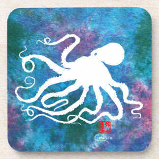 Octopus 6 White - Hard Plastic Coasters