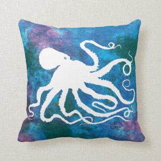 """Octopus 6 White On Blue - 16"""" x 16"""" Throw Pillow"""