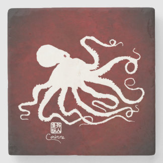 Octopus 6 White On Red L - Marble Coaster