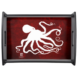 Octopus 6 White on Red - Large Serving Tray