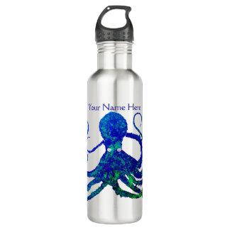 Octopus 8 Blue Green On Steel - Water Bottle