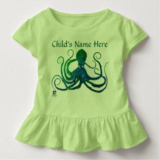 Octopus 8 In Green - Toddler Ruffled Tee