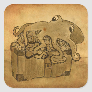 Octopus and Treasure Chest Square Sticker
