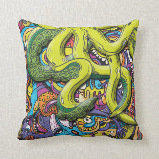 Octopus Attack Throw Pillow