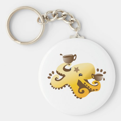 Octopus Barista Key Chains