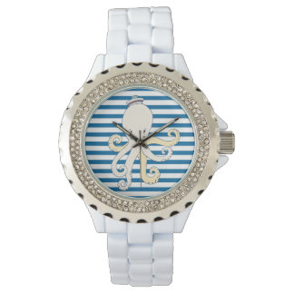 Octopus Blue and White Horizontal Stripe Watch