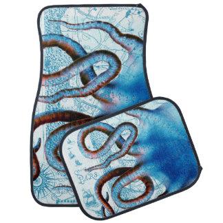 Octopus Blue Map Car Mat