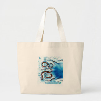 octopus blue map large tote bag