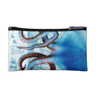 Octopus Blue Map Makeup Bag