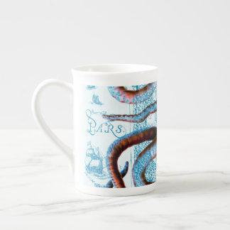 Octopus Blue Map Tea Cup