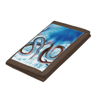 Octopus Blue Map Trifold Wallets